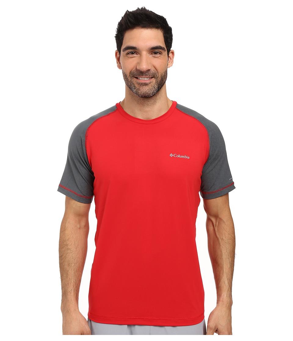 Columbia - Trail Flash Short Sleeve Shirt (Mountain Red/Graphite) Men