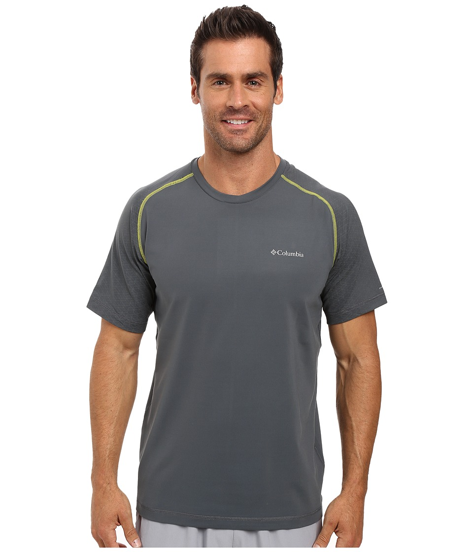 Columbia - Trail Flash Short Sleeve Shirt (Graphite/Acid Yellow) Men