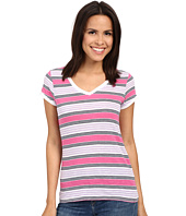 U.S. POLO ASSN. - Lace Trim V-Neck Slub Stripe Tee