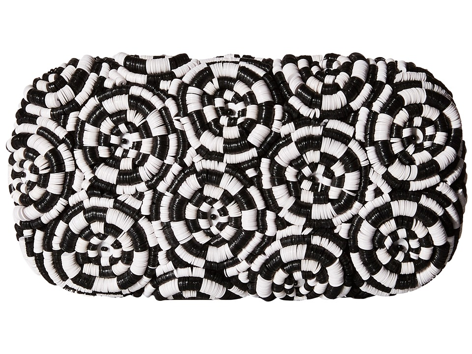 Alice Olivia Spiral Large Clutch Bag Black/White Clutch Handbags