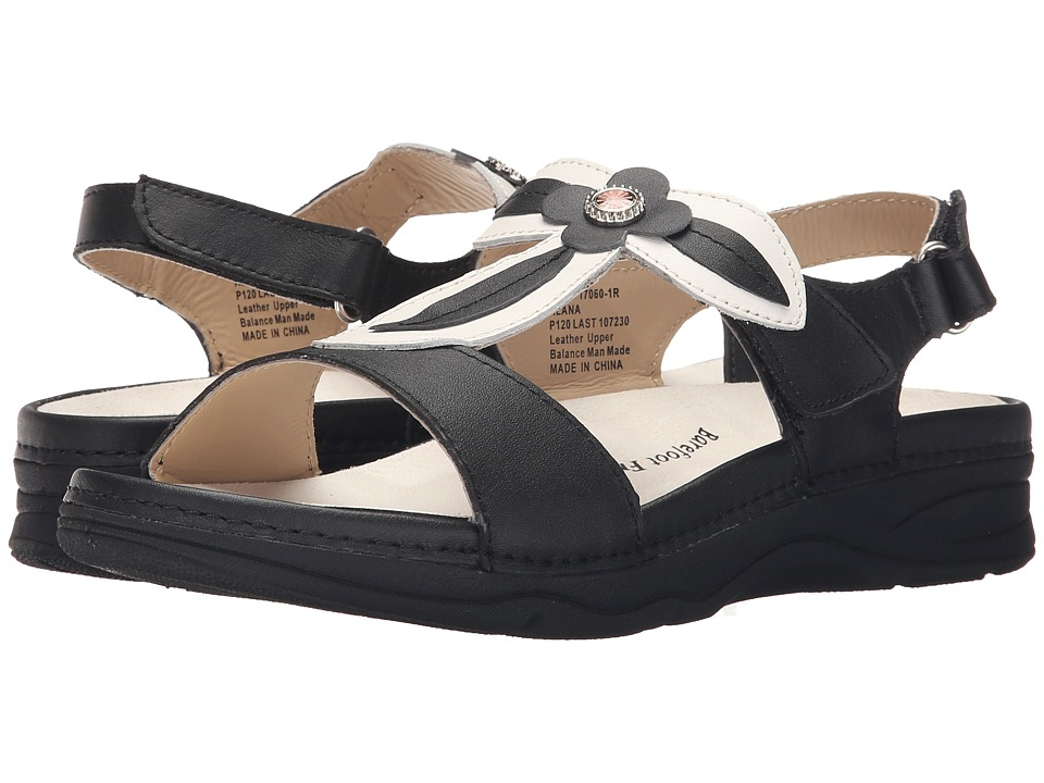 Drew Alana Black/White Leather Womens Sandals