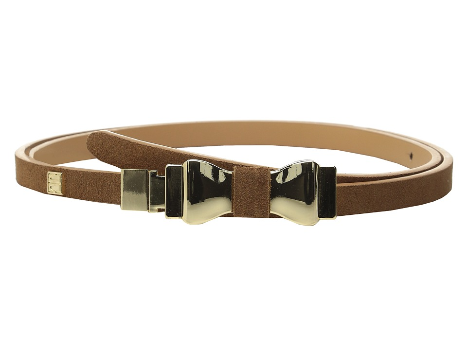 Ivanka Trump 1/2 Suede Belt with Bow Buckle and Logo Rivet Natural Womens Belts