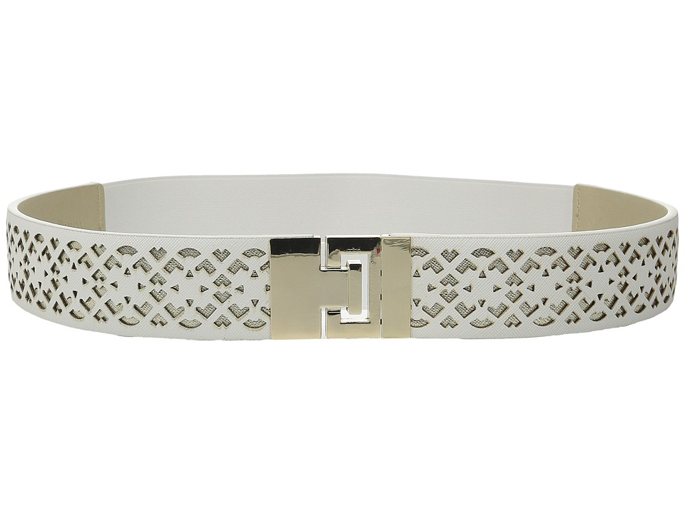 Ivanka Trump 42mm Stretch Belt with Peekaboo Perf White Womens Belts