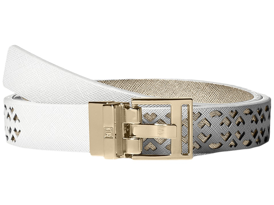 Ivanka Trump 25mm Reversible Peekaboo Perf Belt White Womens Belts