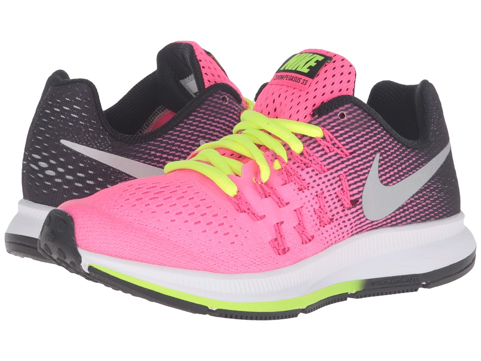 Nike Kids - Zoom Pegasus 33 (Little Kid/Big Kid) (Hyper Pink/Black/Volt/Metallic Silver) Girls Shoes