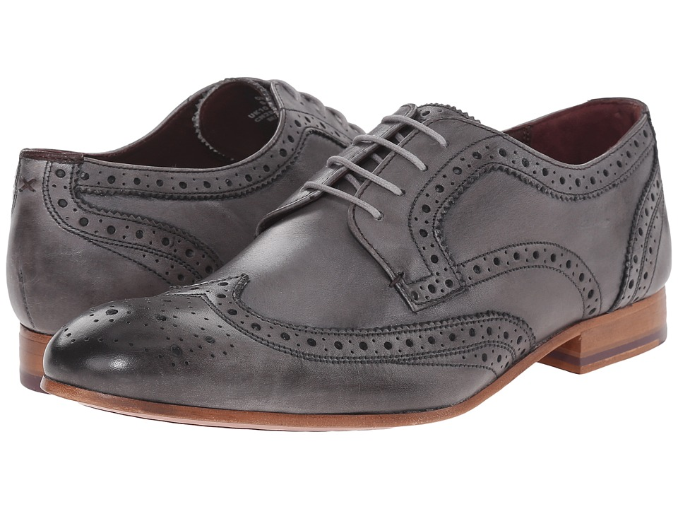 Ted Baker Gryene Light Grey Leather Mens Lace Up Wing Tip Shoes