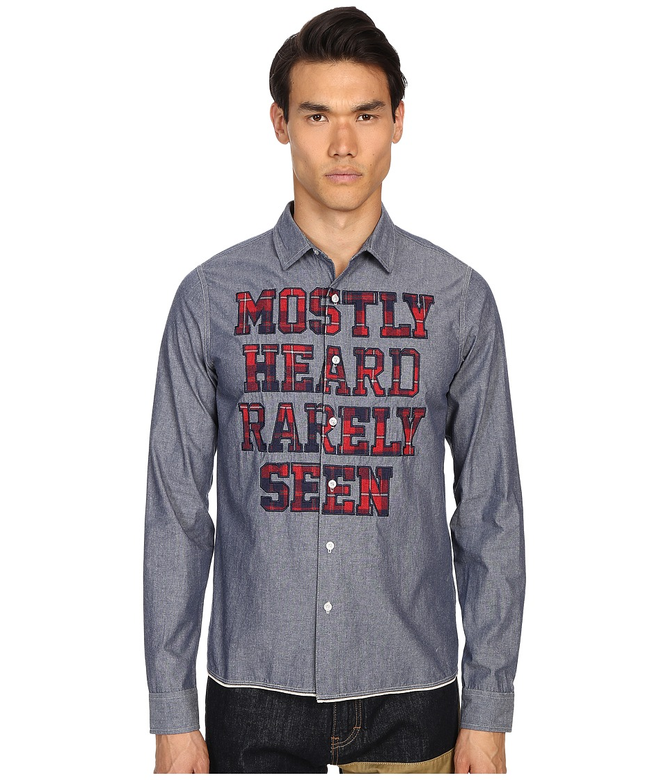 Mostly Heard Rarely Seen Chambray Shirt with Logo Merrow Stitch Indigo Mens Clothing