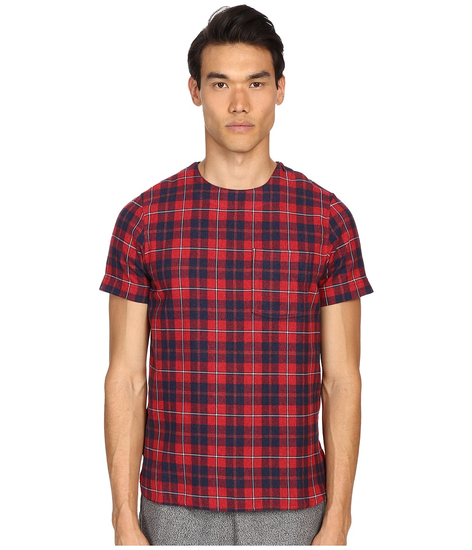 Mostly Heard Rarely Seen Plaid Woven Tee Red Plaid Mens T Shirt