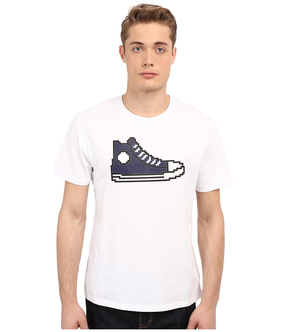 Mostly Heard Rarely Seen Navy Hi Top Sneaker Nanoblock Tee White Mens T Shirt