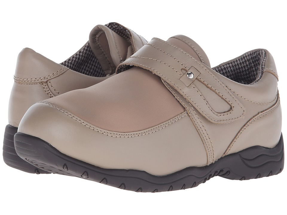 Drew Antwerp Taupe Leather/Taupe Stretch Womens Hook and Loop Shoes