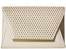 Jessica McClintock Rider Perforated Envelope Clutch (Bone/Gold)