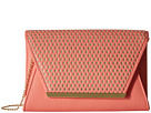 Jessica McClintock Rider Perforated Envelope Clutch (Coral/Gold)