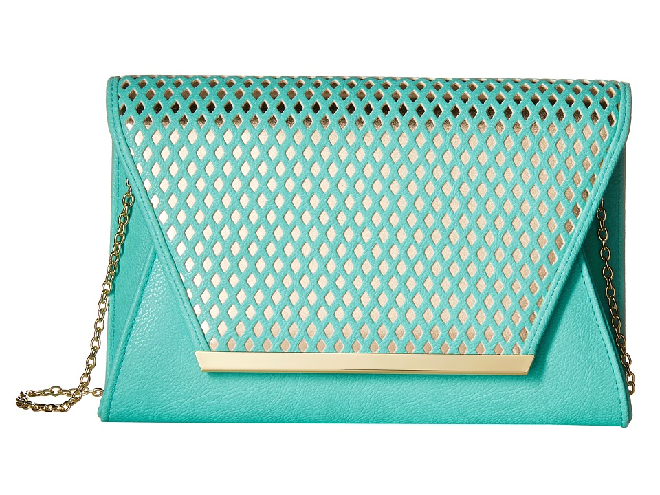 Jessica McClintock - Rider Perforated Envelope Clutch (Mint/Gold) Clutch Handbags