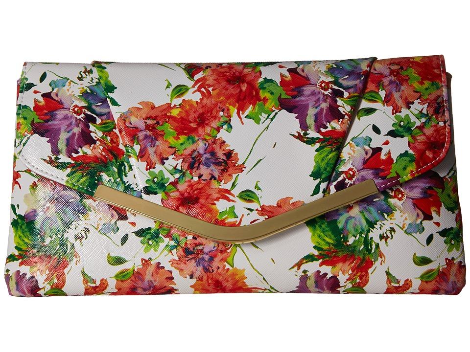 Jessica McClintock Arielle Envelope Clutch White Floral Clutch Handbags