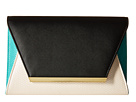 Jessica McClintock Eyder Color Blocked Envelope Clutch (Black/Bone/Mint)
