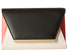 Jessica McClintock Eyder Color Blocked Envelope Clutch (Black/Bone/Coral)