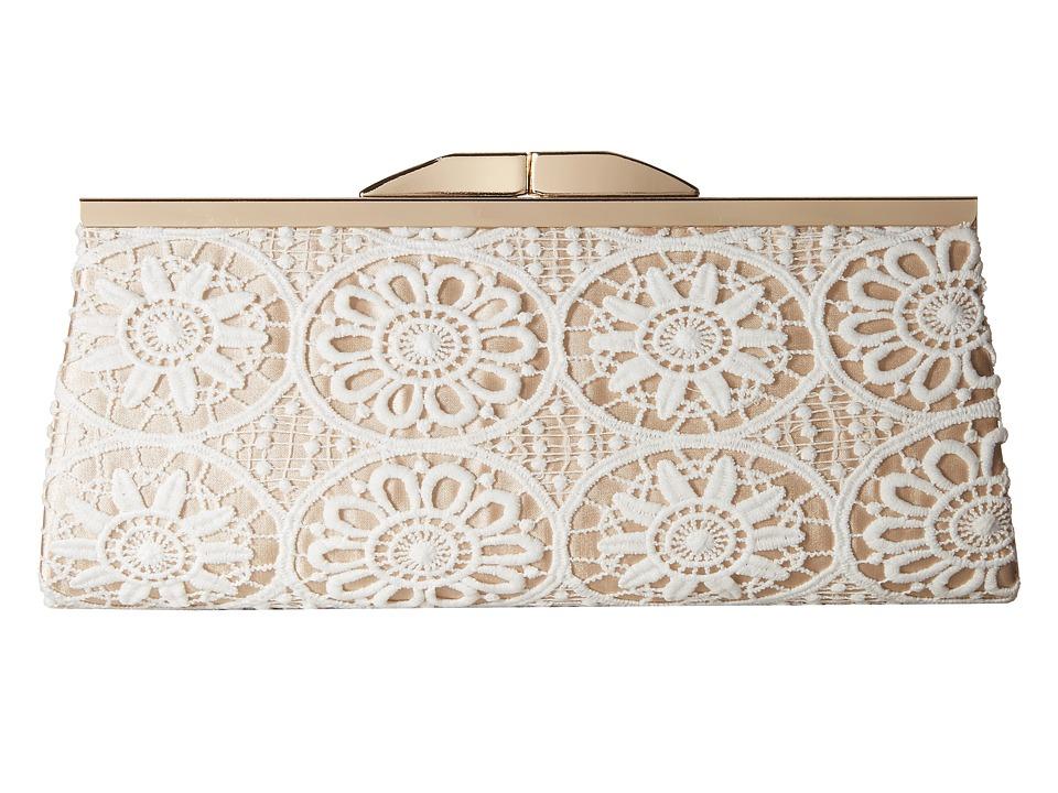 Jessica McClintock Sloan Crochet Framed Clutch White/Champagne Clutch Handbags