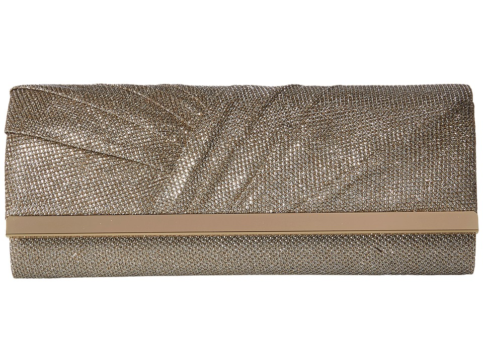 Jessica McClintock Addison Pleated Clutch Champagne Clutch Handbags