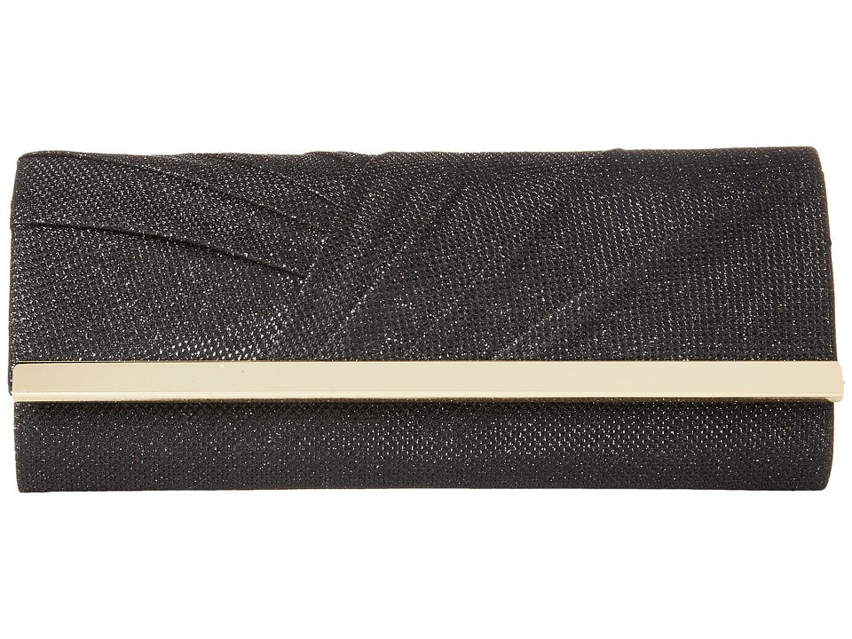 Jessica McClintock Addison Pleated Clutch Black Clutch Handbags