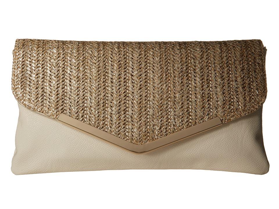 Jessica McClintock Arielle Straw Envelope Clutch Bone Clutch Handbags