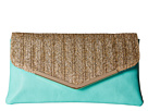 Jessica McClintock Arielle Straw Envelope Clutch (Mint)