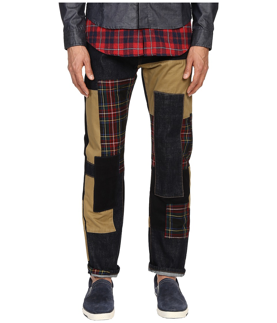 Mostly Heard Rarely Seen Patchwork Straight Fit Denim Indigo/Red Plaid Mens Jeans