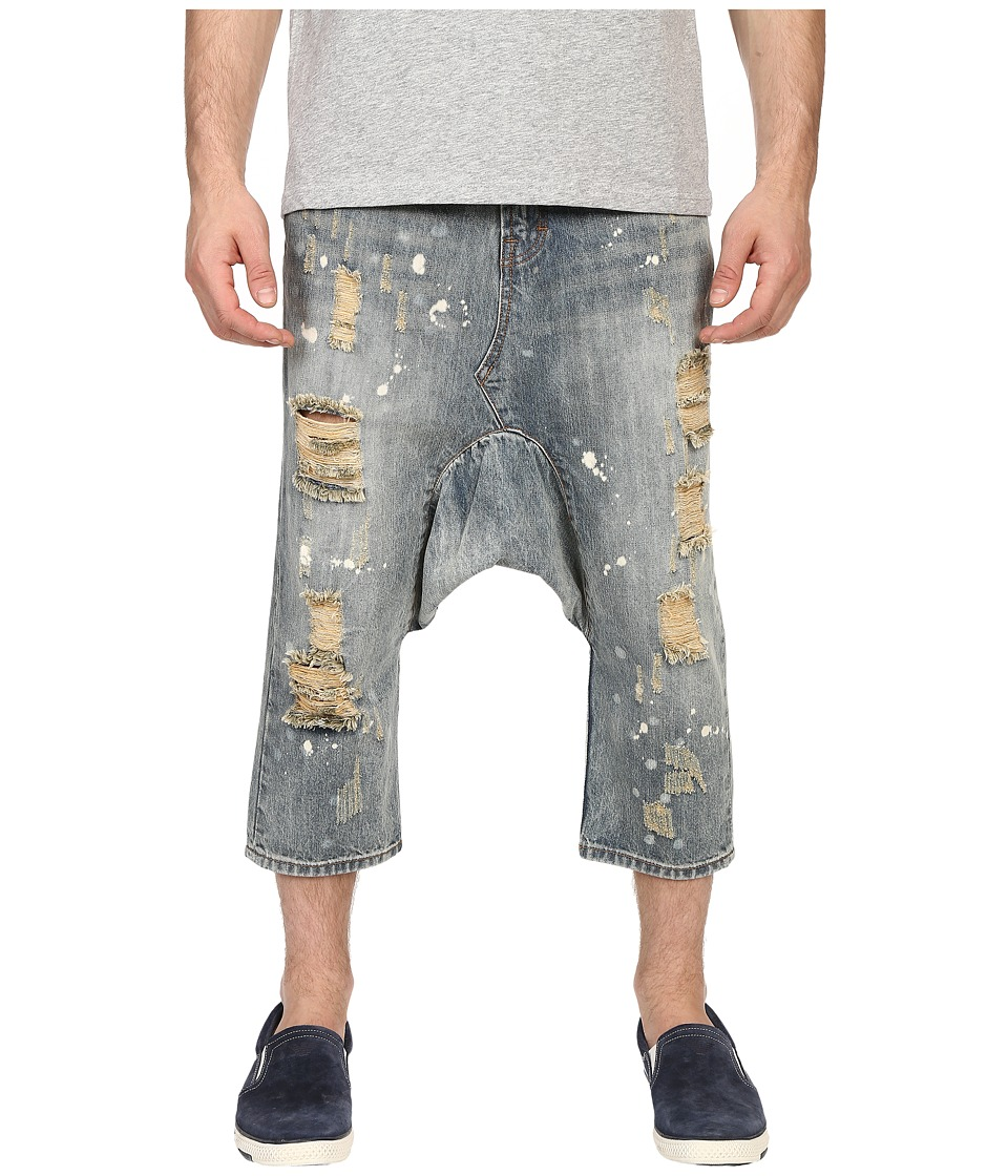 Mostly Heard Rarely Seen Distressed Enzo Drop Crotch Jeans Light Indigo Mens Jeans