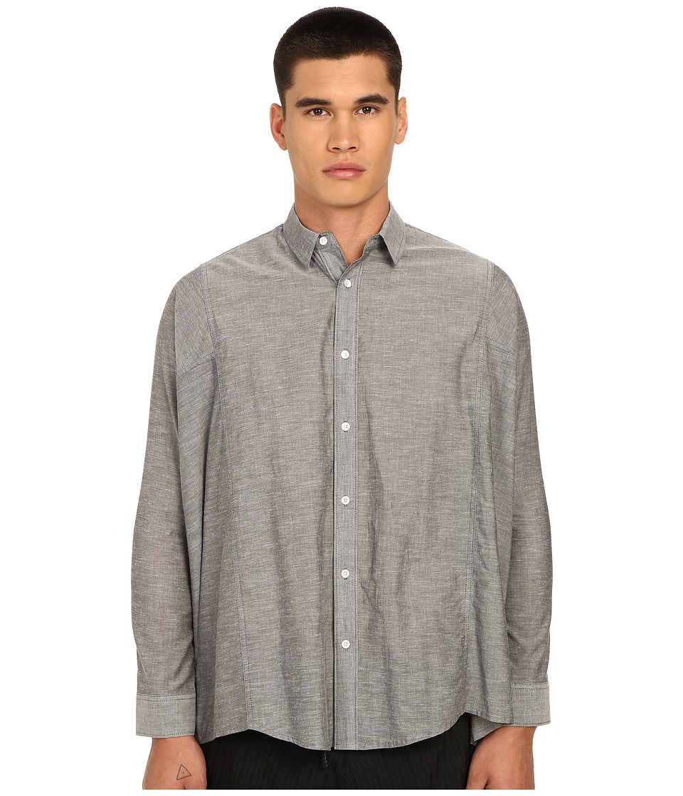 PRIVATE STOCK The Wayne Shirt Grey Mens Long Sleeve Button Up