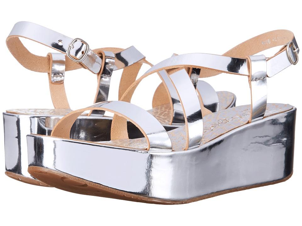 Pedro Garcia Nessa Silver Vacchetta Womens Wedge Shoes
