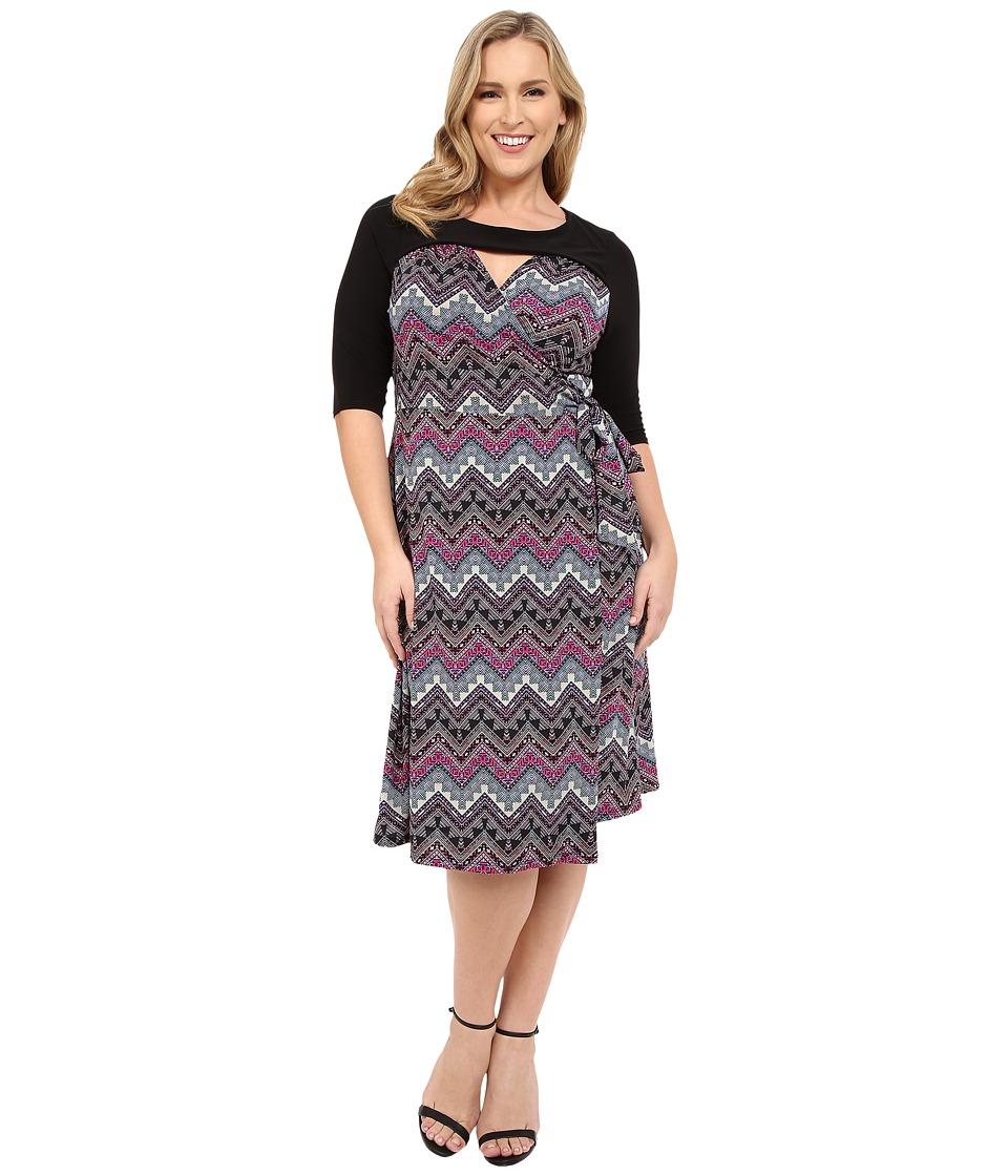 Kiyonna Wishful Wrap Dress (Black/Violet/Periwinkle) Women
