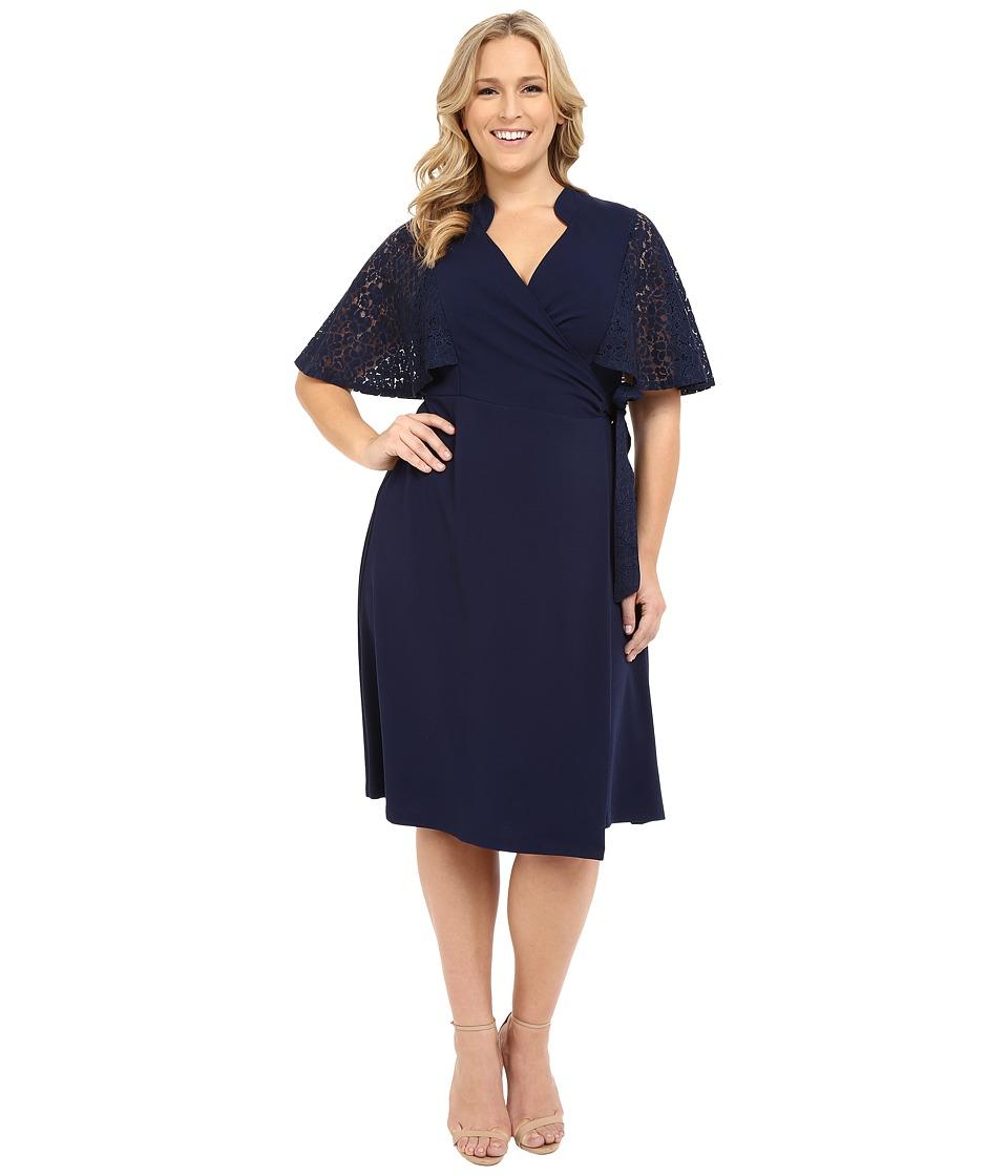 Kiyonna Captivating Crochet Wrap Dress Midnight Blue Womens Dress