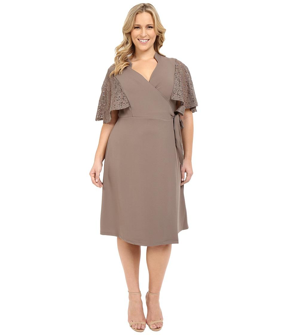 Kiyonna Captivating Crochet Wrap Dress Truffle Womens Dress