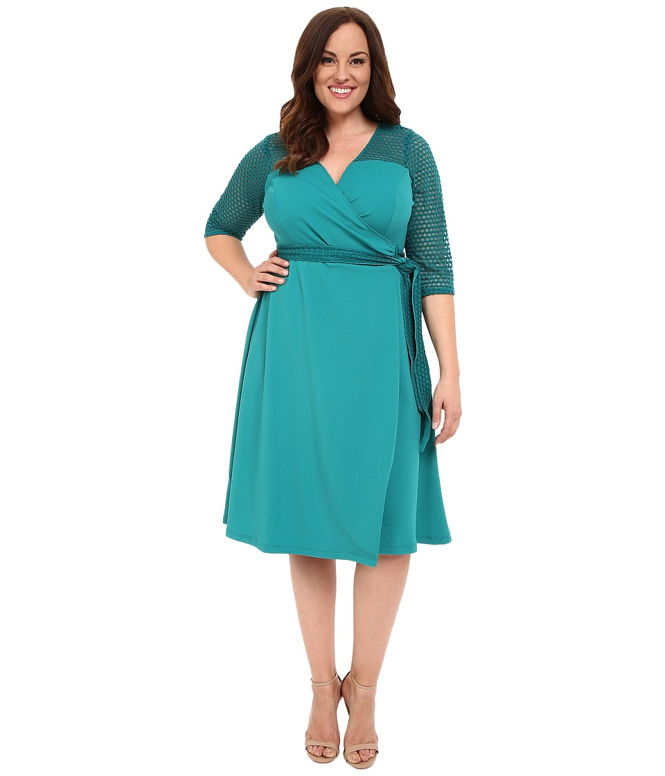 Kiyonna Honeycomb Wrap Dress (Emerald Isle) Women