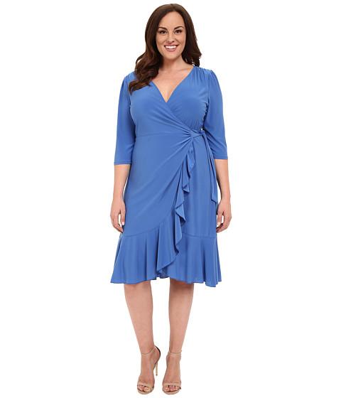 Kiyonna - Whimsy Wrap Dress (Periwinkle) Women's Dress