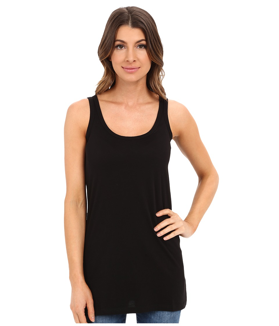 Lilla P - Layering Long Scoop Tank Top (Black) Womens Sleeveless