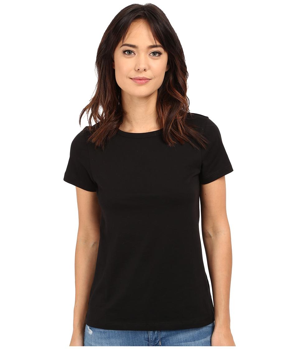 Lilla P Pima Jersey Short Sleeve Jewel Neck Black Womens Clothing