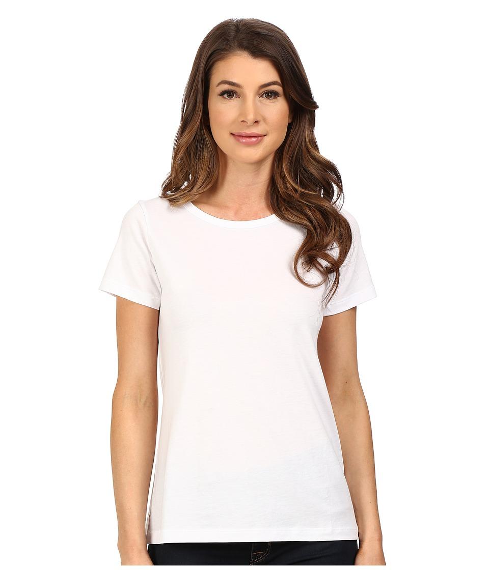 Lilla P Pima Jersey Short Sleeve Jewel Neck White Womens Clothing