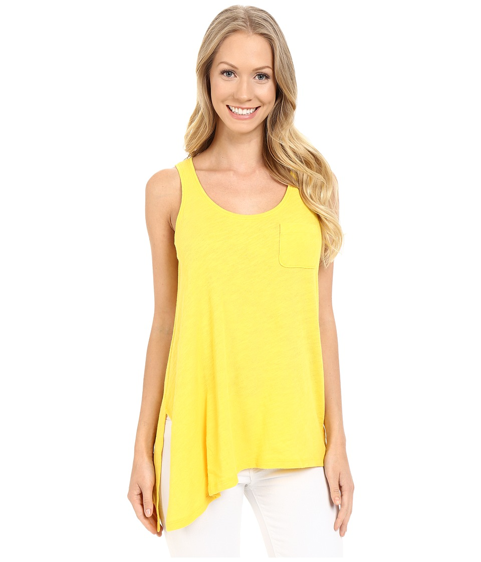 Lilla P Flame Gauze Asymmetrical Pocket Front Tank Top Marigold Womens Sleeveless