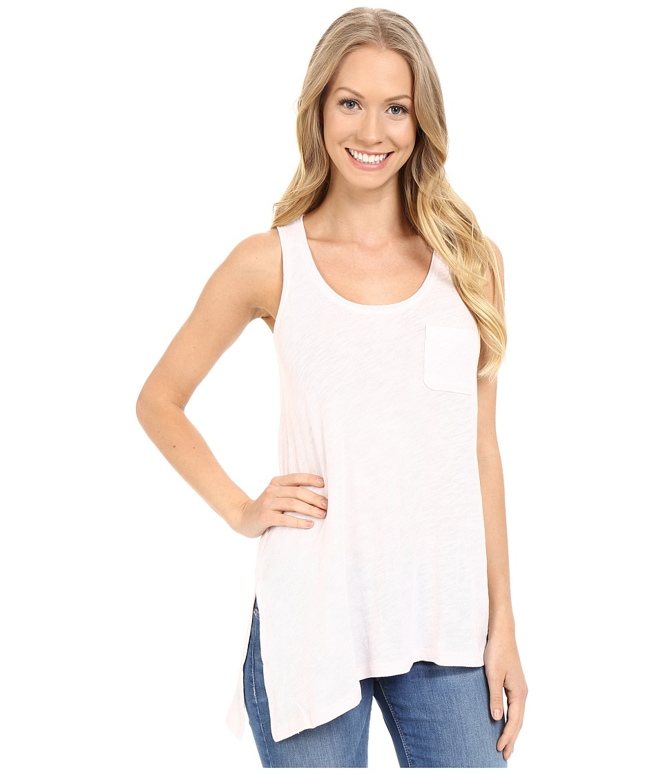 Lilla P Flame Gauze Asymmetrical Pocket Front Tank Top Petal Pink Womens Sleeveless