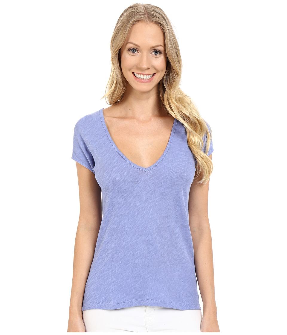 Lilla P Flame Gauze Sleeveless Double V Neck Cornflower Womens T Shirt