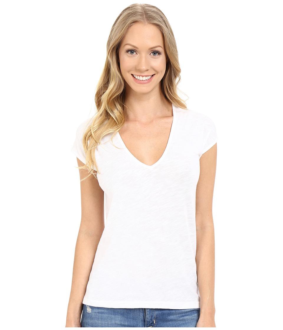 Lilla P Flame Gauze Sleeveless Double V Neck White Womens T Shirt