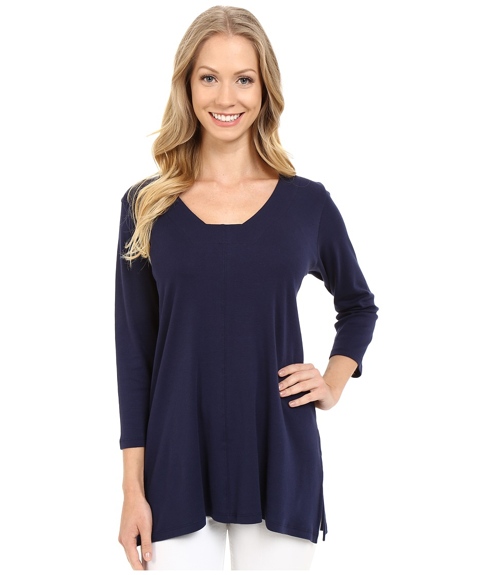 Lilla P Fine Rib 3/4 Sleeve Swing Tunic Peacoat Womens T Shirt