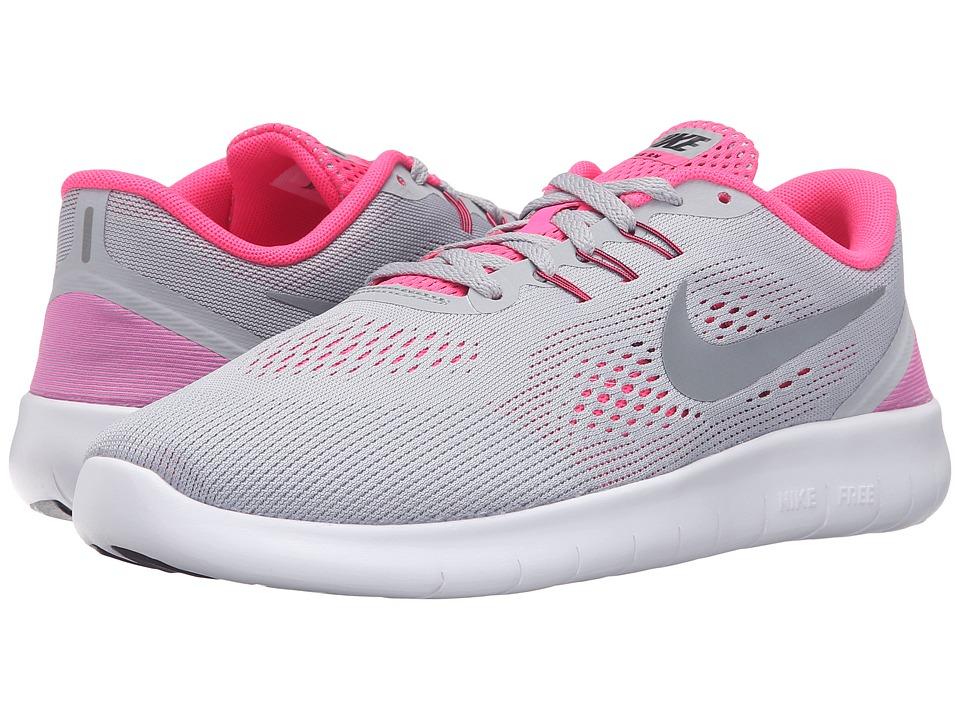 Nike Kids Free RN (Big Kid) (Wolf Grey/White/Black/Metallic Silver) Girls Shoes