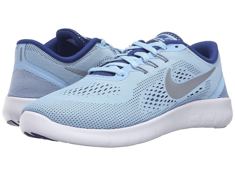 Nike Kids Free RN (Big Kid) (Bluecap/Deep Royal Blue/White/Metallic Silver) Girls Shoes