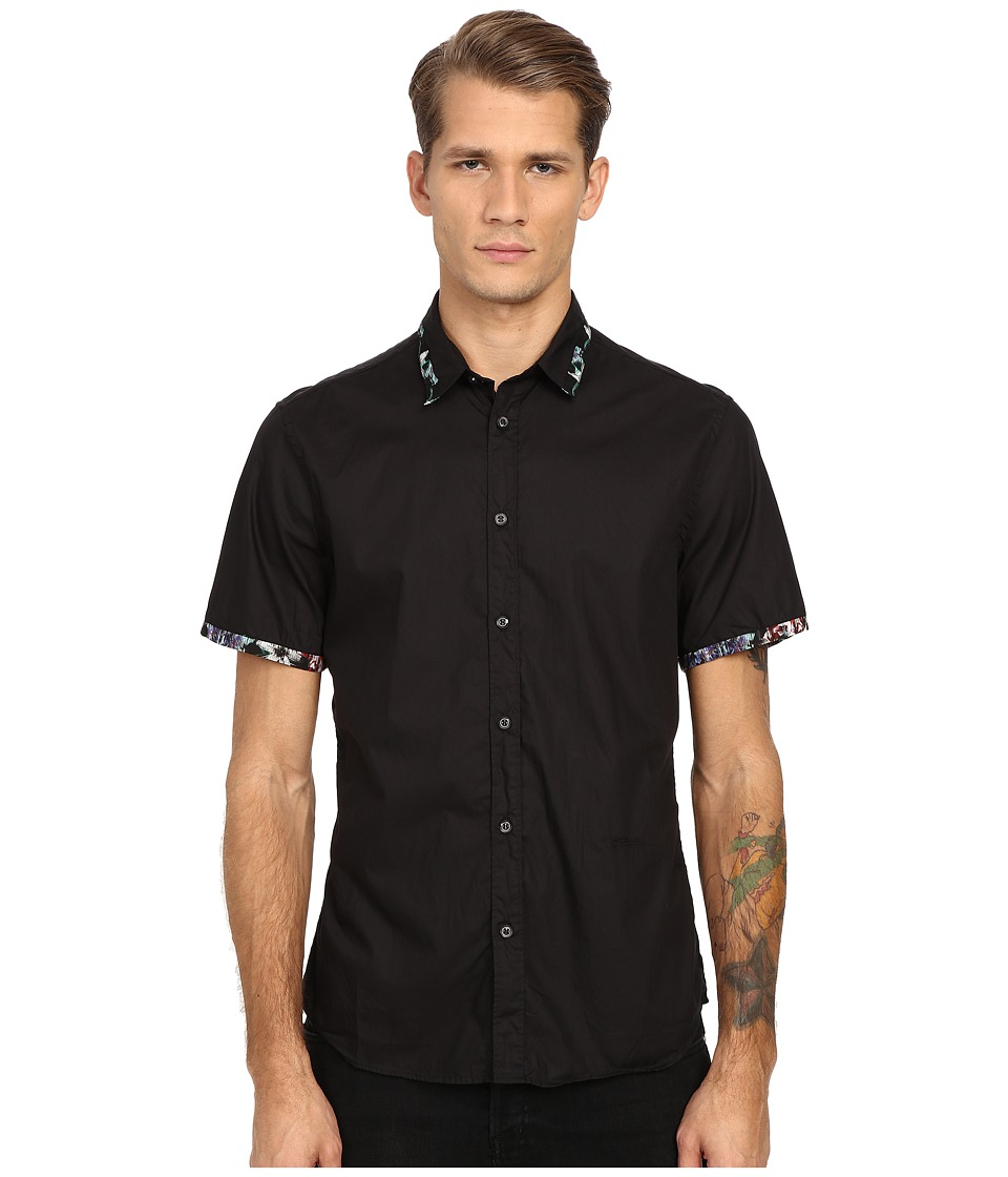 Just Cavalli Short Sleeve Woven Crinkle Effect and Print Trim Black 2 Mens Short Sleeve Button Up