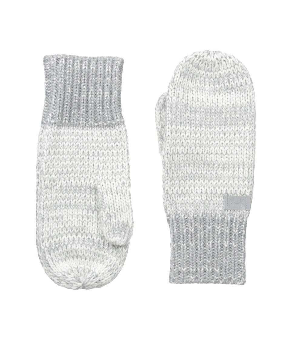 Under Armour - Knit Mittens (Youth) (Ivory/Steel/Silver) Extreme Cold Weather Gloves