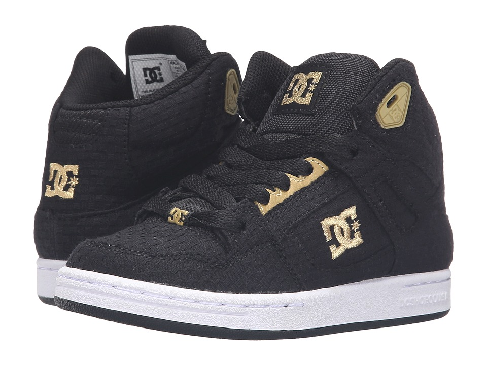 DC Kids - Rebound TX SE (Little Kid) (Black/Gold) Girls Shoes