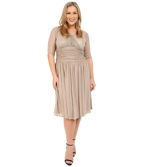 Kiyonna Modern Mesh Dress - Shimmering Sands