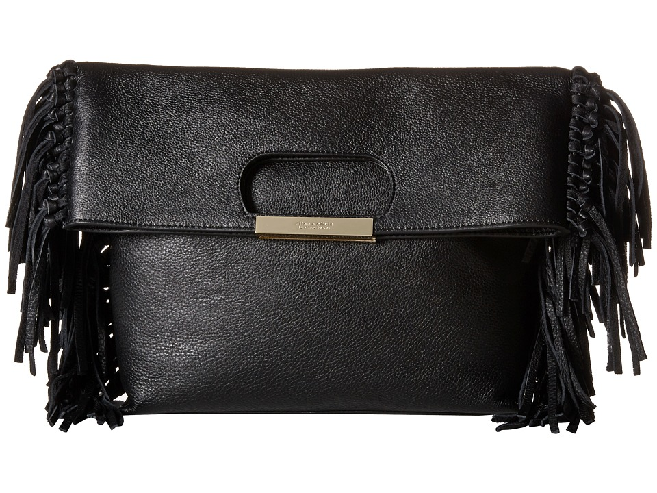 Alice Olivia Edie Pebbled Leather Fold Over Black Clutch Handbags