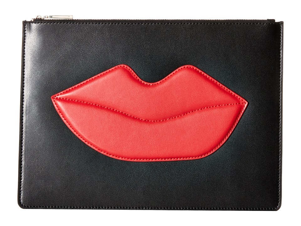 Alice + Olivia - Large Zip Pouch with Lips (Black Multi) Travel Pouch